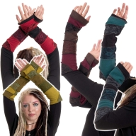 Hippy Patchwork Arm Warmers, Fleece Punk Emo Armwarmers - Feisty Armwarmers (AS7039) by Altshop UK