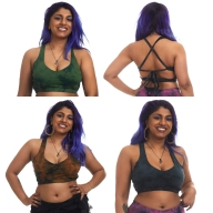 Tie Dye Yoga Bralette, Hippy Tiedye Crop Top - Tie Dye Choli (DEVTDCHO) by Altshop UK