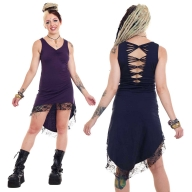 Psy Trance High Low Cotton Dress with Lace Trim - Illias Dress (WDR5114) by Altshop UK