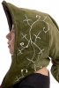Elven Cosplay Hood with Ivy Embroidery, Psy Trance Pixie Spirit Hood in Green Ivy - Karlo Hat (HT2139) by Altshop UK