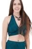 Geometric Yoga Bra, Shipibo Ayahuasca Bralette in Blue Geo - Geo Wrap Top (ROKGPWR) by Altshop UK
