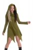 Pixie Witch Cowl Neck Hooded Long Sleeve Dress in Green - Angel Dress (WDR5077) By Altshop UK