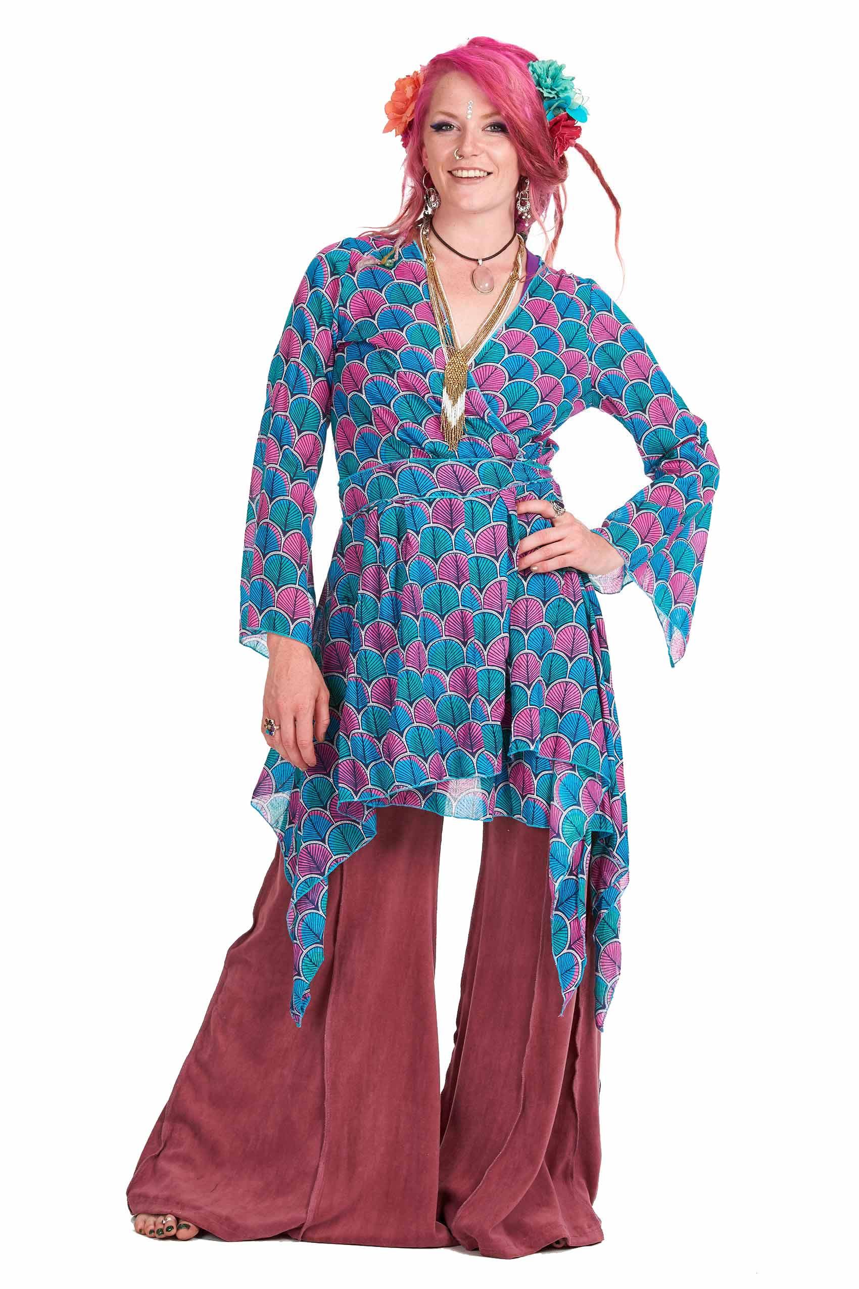Floaty Boho Kimono Jacket Bohemian Ibiza Wrap Dress
