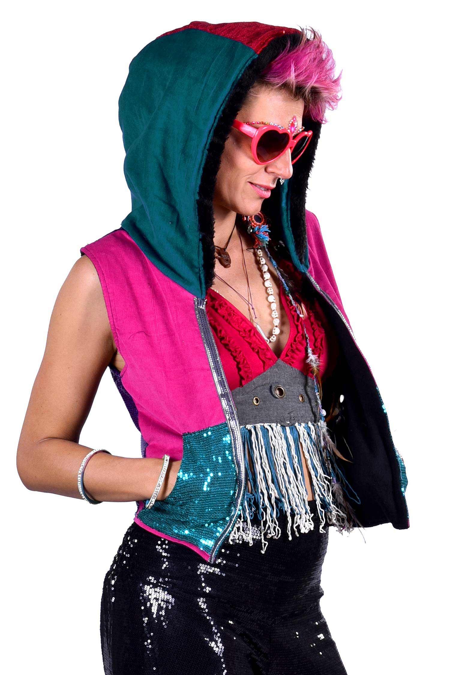 Sequin Disco Rave Hoodie Burning Man Coachella Top