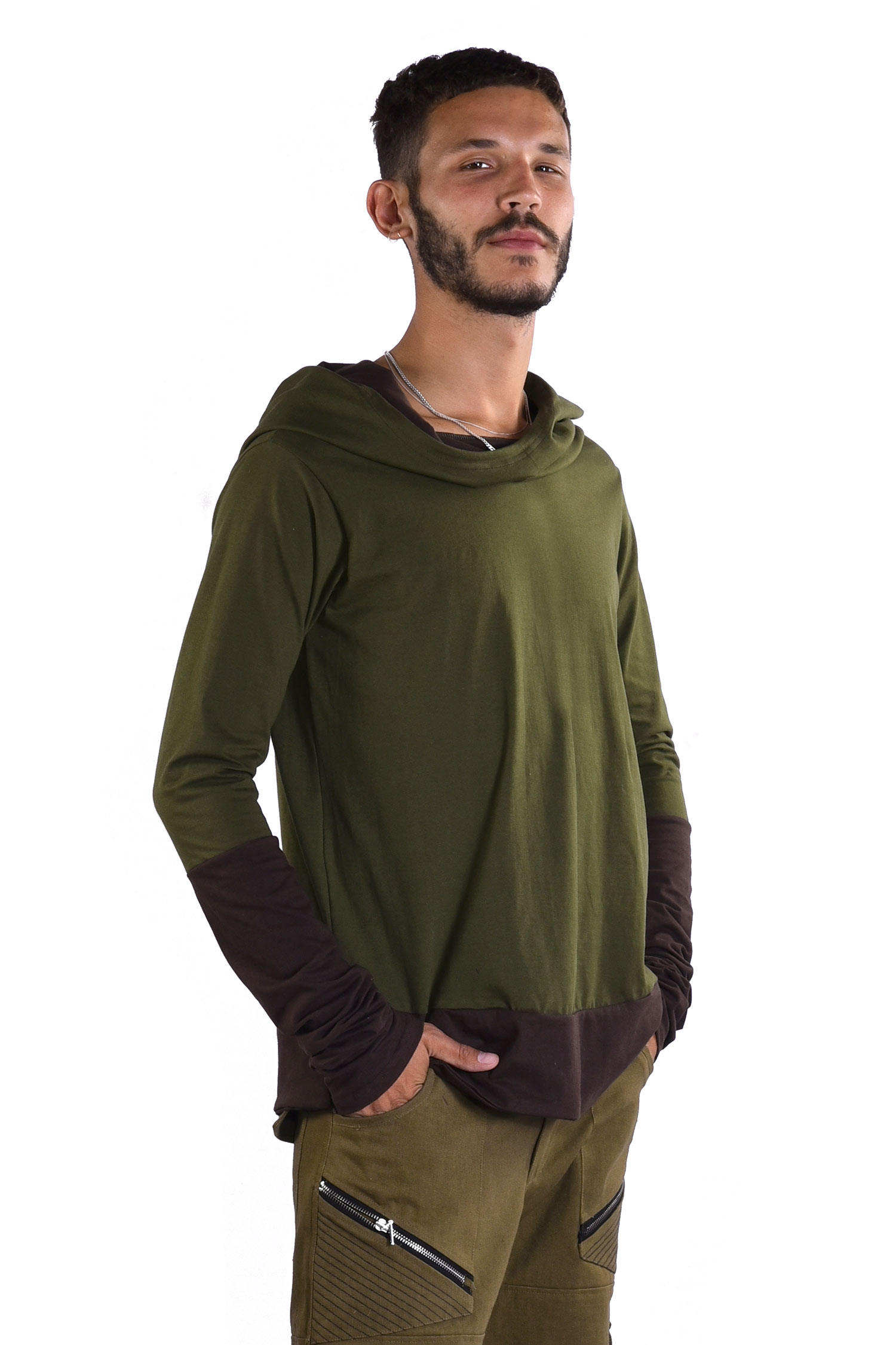 Mens Hooded Top, Hippy Hoodie, Long Sleeve Top