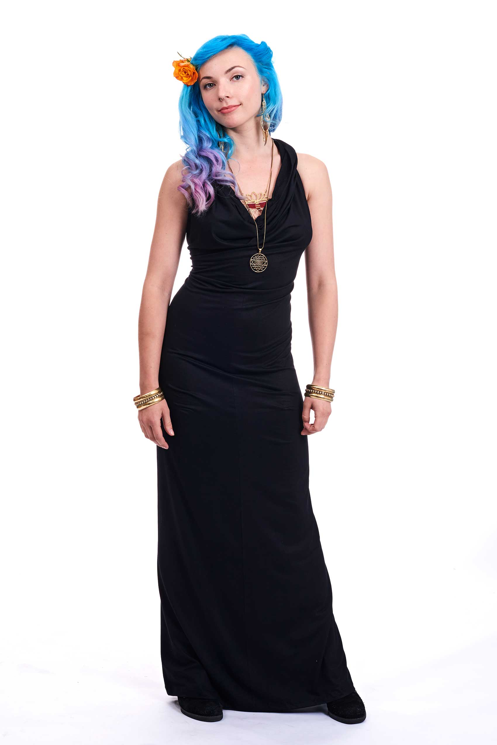 Slinky Cowl Neck Ball Gown, long evening dress | Altshop UK