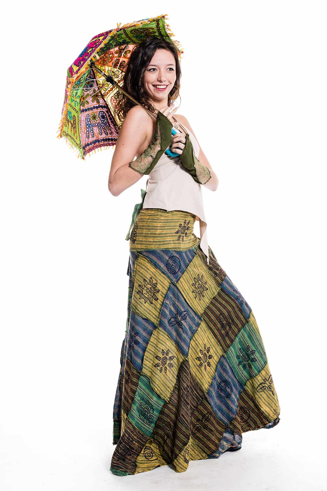 Long Earthy Hippy Patchwork Wrap Skirt Altshop Uk