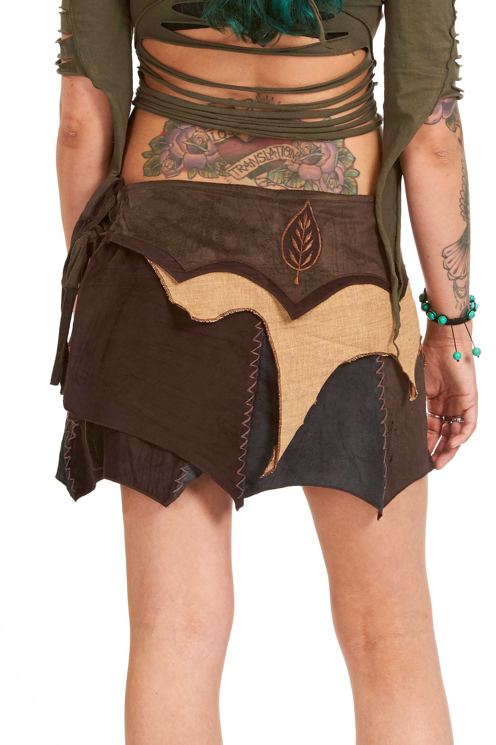 5501fdb823 Psy Trance Pixie Vegetarian Leather Goa Skirt | Altshop UK