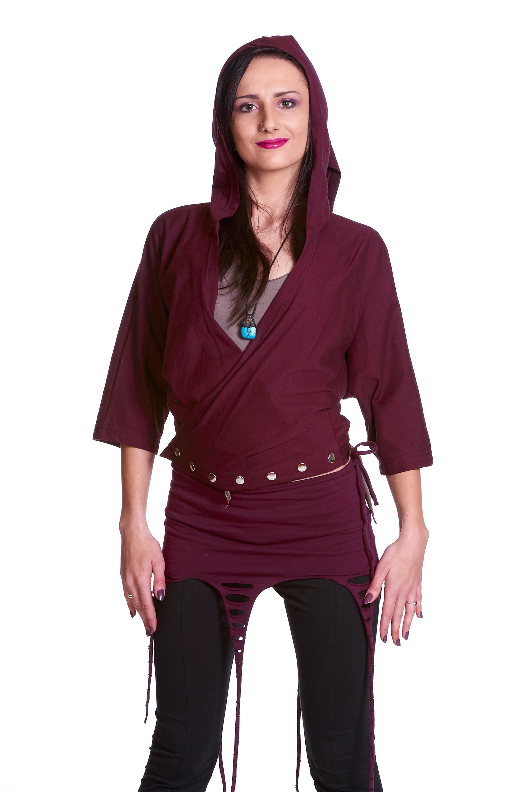 Ladies Fashion Jacket in Pixie Design in Maroon Size Large