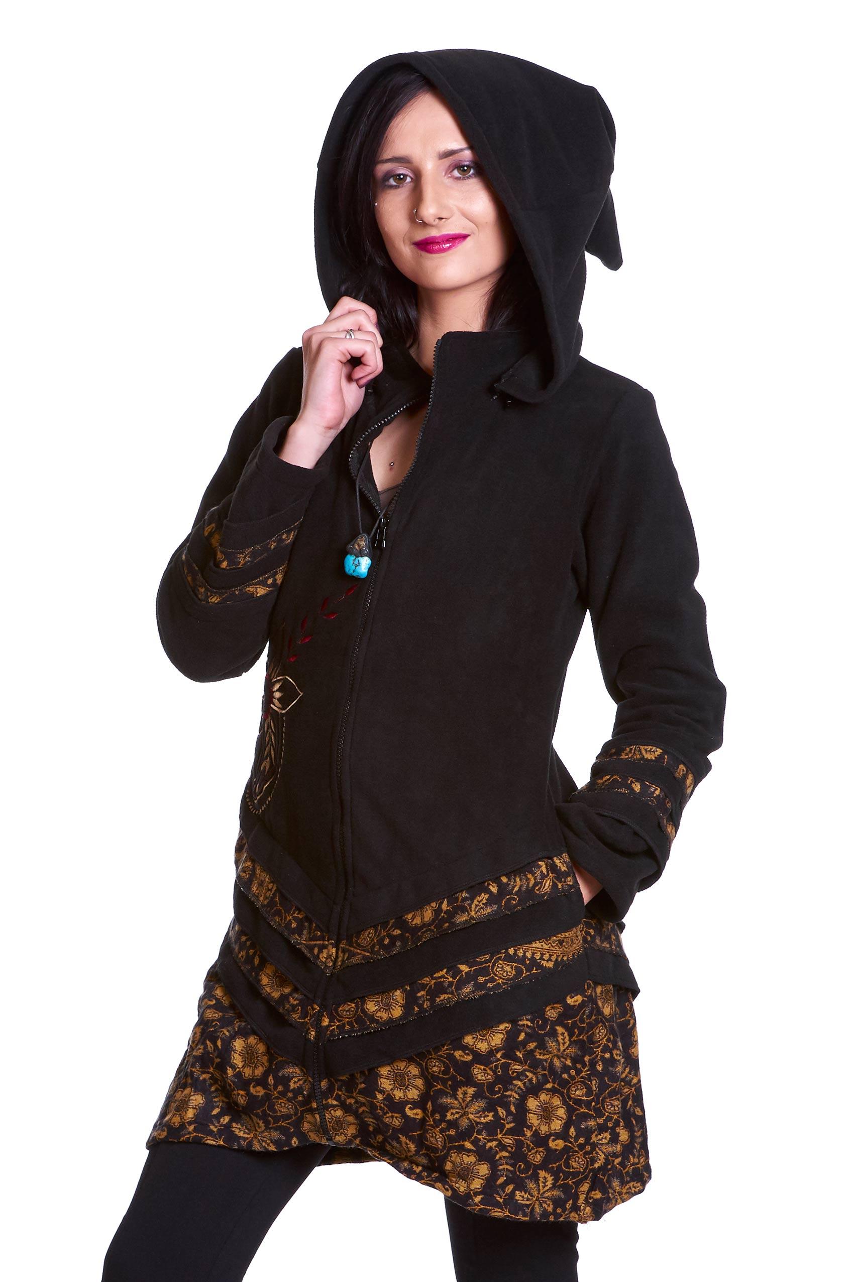 boho pixie fleece coat pixie hood jacket psy trance coat altshop uk. Black Bedroom Furniture Sets. Home Design Ideas
