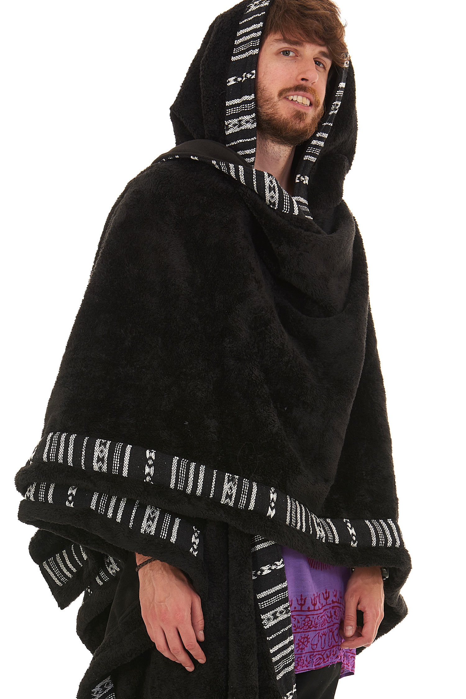 Mens Furry Pixie Wizard Hooded Poncho, Pagan Cloak | Altshop UK