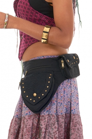 Sturdy Festival Pocket Belt with Lace and Studs in Black - Lace Belt (AYALACE) by Altshop UK