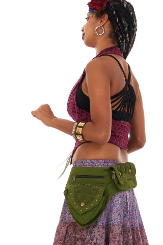 Sturdy Festival Pocket Belt with Lace and Studs in Green - Lace Belt (AYALACE) by Altshop UK