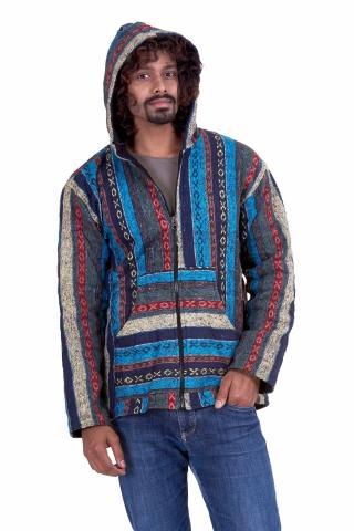 Mens Hippy Jacket, man's Nepalese baja hippie hoodie in Turquoise - Blanket Jacket (BHIMBJA) by Altshop UK