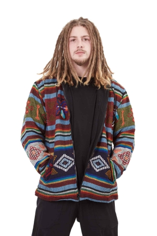 Hand-Woven Wool Hoodie, men's winter hippy jacket nr. 5 - Yathra Jacket (BHIMYAT) by Altshop UK