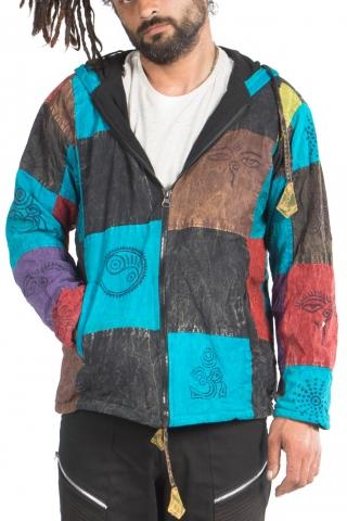 Mens Hippy Jacket, Patchwork Hippie Jacket in Bright - BTC Patch Jacket (BTCPATCH) by Altshop UK
