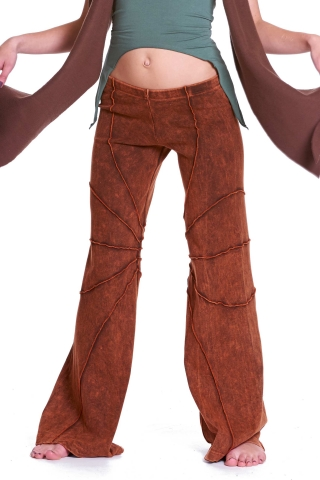 Pixie Goa Doof Trousers, Psy Trance Festival Hippie Flow Pants in Brown - Papaya Trousers (CH333R) by Anki