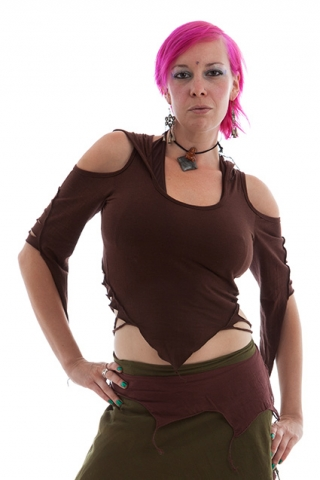 SLASHED BACK PIXIE TOP, psy trance top - Brown