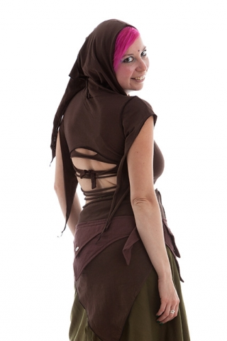 Long Slashed Back Fairy Pixie Top, Trance Festival Top in Brown - Firefly Top (CH428) by Anki