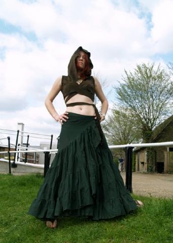 SPANISH GYPSY FLAMENCO SKIRT, one size wrap skirt - Forest