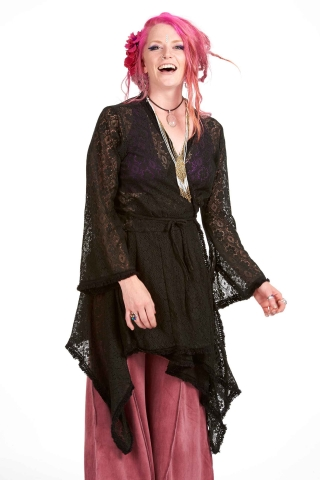 Ibiza Wrap Jacket, pagan Gypsy boho kimono vintage-style hippy top in Black - Lace wrap (DBANLA) by Altshop UK