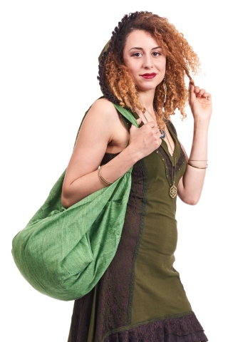 Hippy Beach Bag, boho sack bag, slouch shoulder banana bag in Green - Banana Bag Khadi (DBBAKA) by Altshop UK