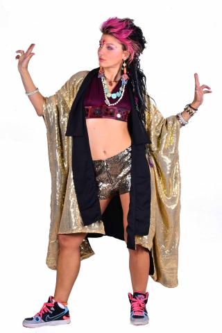 Sequin Festival Kimono, Burning Man Rave Costume in Gold - Full Sequin Kimono (DBFUSKI) by Lovely Jubbly