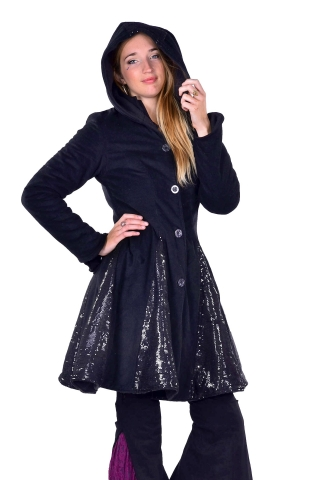 Sparkly Ladies Warm Winter Circus Coat With Sequin in Black - Glitter Coat (DBLYBC) by Altshop UK