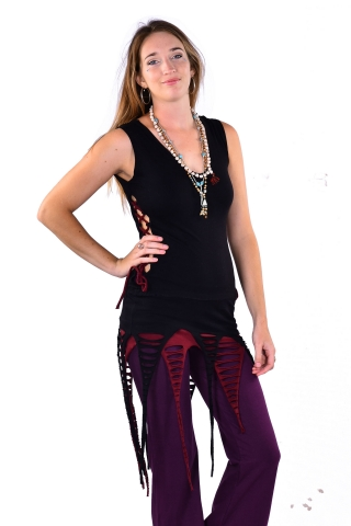 Psy Trance Clothing Goa Doof Pixie Dress in Black - Jungle Dress (DEVDEVP) by Altshop UK