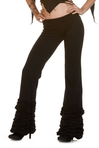 Boho Leggings, Steampunk Trousers, Bootcut Flares in Black - Frill Trousers (DEVLFT) by Altshop UK