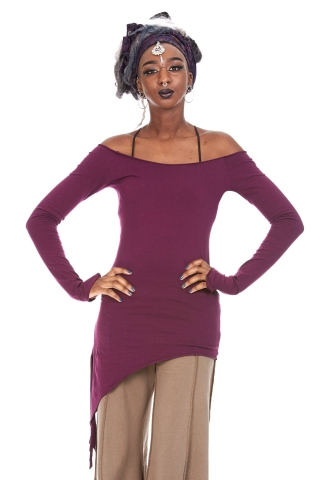 Ladies Assym Pixie Top, Long Sleeve Boho Top in Purple - Khusa Top (DEVLSAT) by Altshop UK