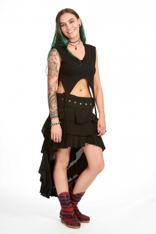 Boho High-Low Skirt, natural bohemian Goa goddess skirt in Black - DEVWENS by Altshop UK