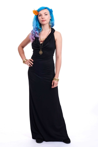 Slinky Cowl Neck Ball Gown, long evening dress in Black - Titania Dress (DLBDLY) by Altshop UK