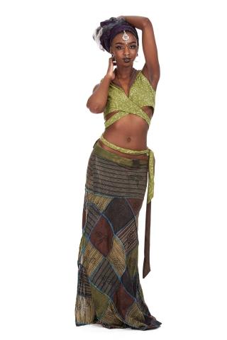 Long Earthy Hippy Patchwork Wrap Skirt in Mushroom - Earth Skirt (DSCN27817) by Altshop UK