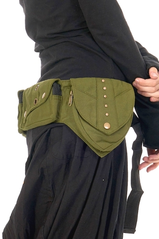 Cotton Canvas Pocket Belt With Rivets, Pixie Fanny Pack in Green - Lotus Belt (EYLLOT) by Altshop UK