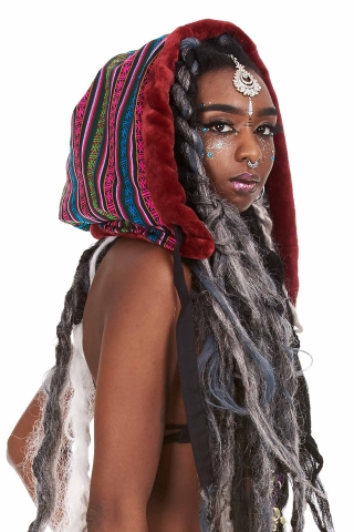 Reversible Satin Fake Fur Hippy Hood in Multi Stripe - Satin Hood (GFHOOD) by Lovely Jubbly