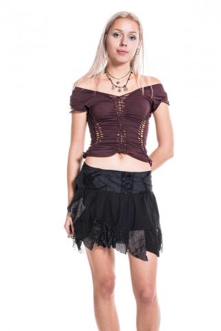 Ragged Burlesque Pixie Wrap Mini Skirt - Black