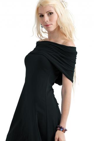 HEADSCARF HOOD COWL NECK DRESS - Black