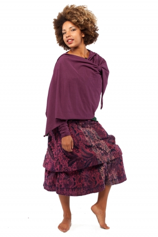 Hooded Wrap Sleeved Poncho Top in Purple - Hood Poncho (LCJPLF) by Gekko