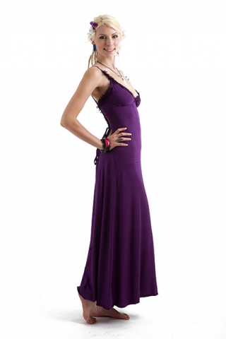 TRANCE GODDESS OPEN CORSET BACK GOWN - Purple