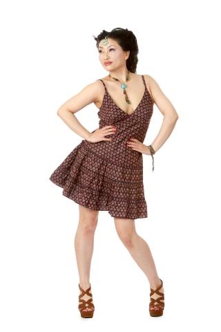 Boho Mini Dress, Summer Cotton Dress in Brown - Cotton Summer Dress (MERO7061) by Altshop UK