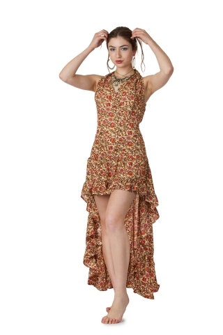 High Low Gypsy Boho Dress in Beige - Short Front Nani Dress (MESSFND1) by Altshop UK