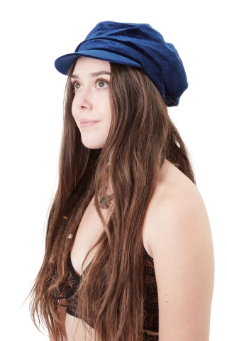 Velvet Baker Boy Hat, Ladies Hippy Newsboy Cap in Blue - Velvet BB Hat (MZVEBB) by Maz