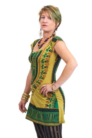 Dashiki Sun Dress, Angelina African boho shift dress in Green - African Tunic (RFAFTU) by Altshop UK