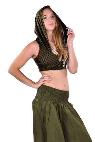 Festival Crop Top, Sacred Geometry Flower of Life Hooded Top in Green - FOL Choli Hoodie (RFFOLCH) by Altshop UK