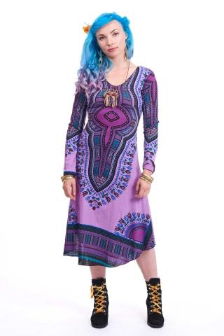 African Dashiki Dress, Angelina Tribal Print Long-Sleeve Dress in Purple - Oba Dress (RFOBAD) by Altshop UK