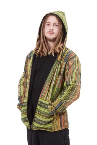 Mens Hippy Patchwork Coat, Mans Hippie Jacket in Green - Mens Patch Jacket (RGMANPJ) by Altshop UK