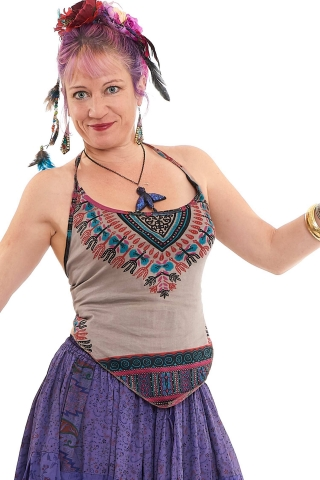 Dashiki Crop Mini Top, Summer Festival Top in Beige - African String Top (ROKGRUDR) by Altshop UK