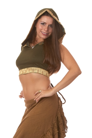 Silk Trimmed Hooded Crop Top in Green - Malay Silk Choli (ROKMALC) by Altshop UK