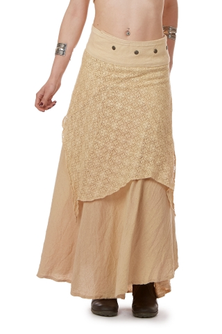 Jute and Lace Long Layered Goa Skirt in Beige - Seelie Skirt (ROKSELS) by Altshop UK